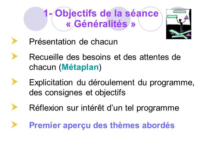 1- Objectifs de la séance « Généralités »