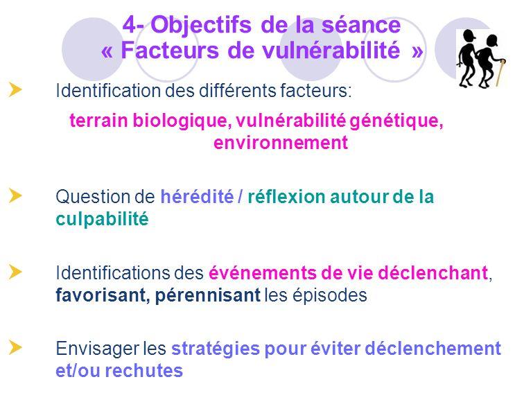 4- Objectifs de la séance « Facteurs de vulnérabilité »