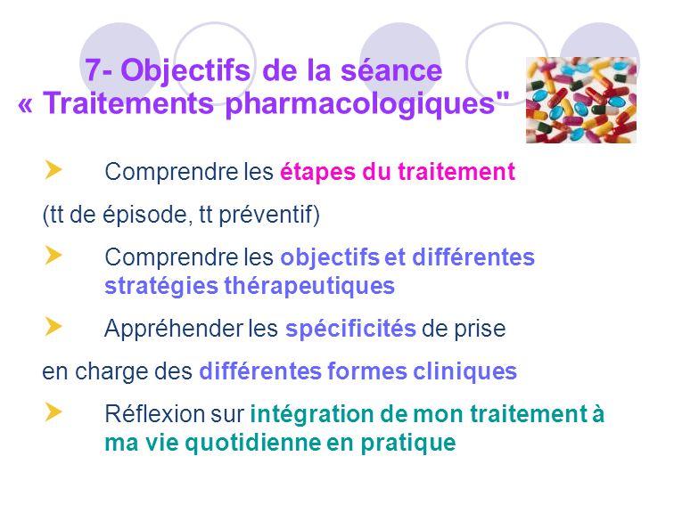 7- Objectifs de la séance « Traitements pharmacologiques