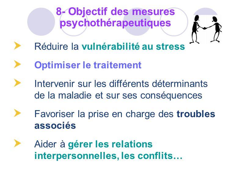8- Objectif des mesures psychothérapeutiques
