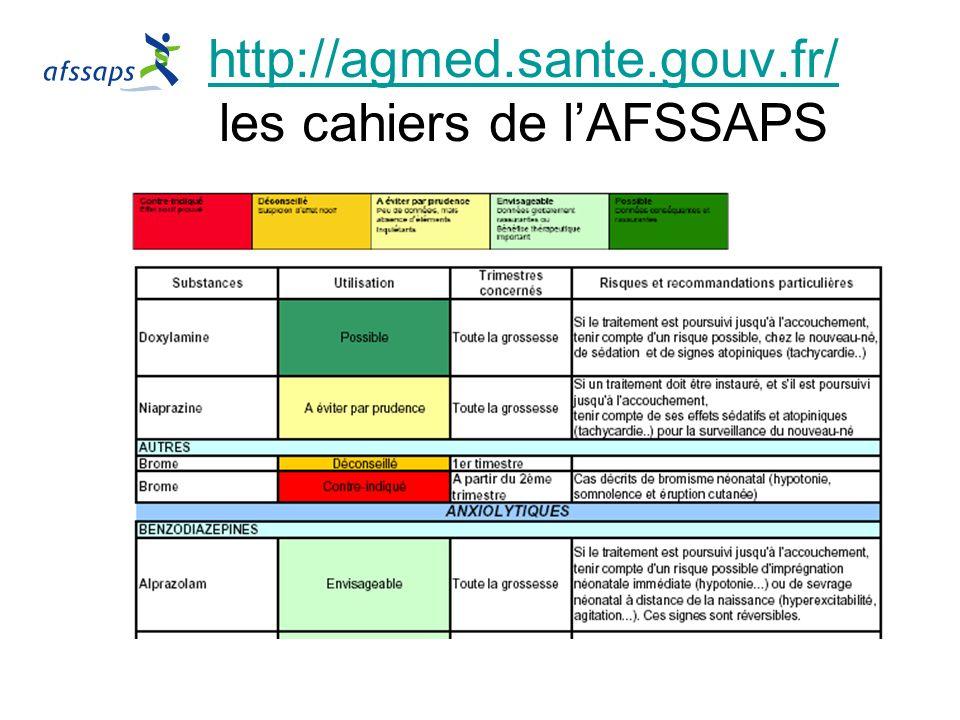 http://agmed.sante.gouv.fr/ les cahiers de l'AFSSAPS