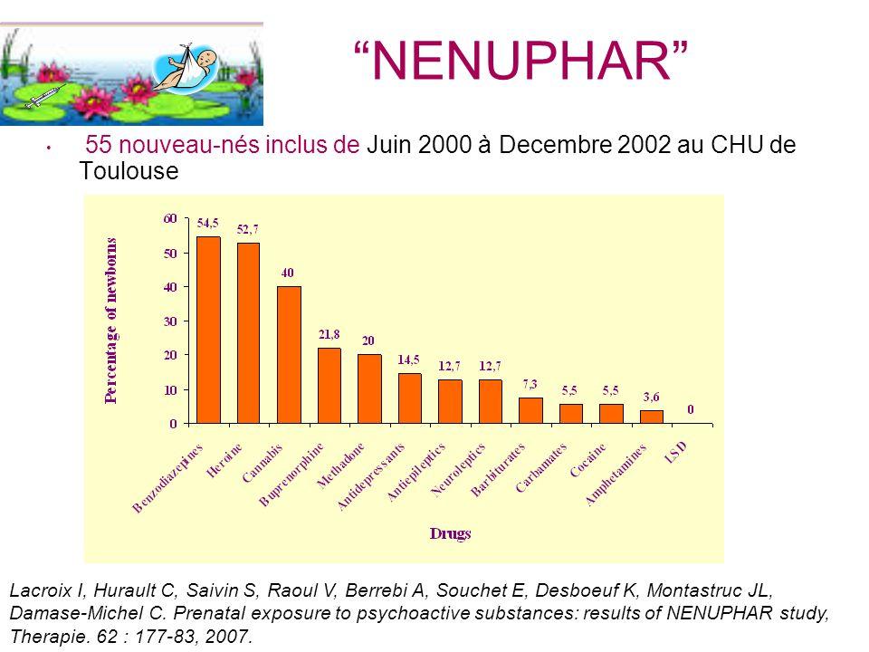 NENUPHAR 55 nouveau-nés inclus de Juin 2000 à Decembre 2002 au CHU de Toulouse.