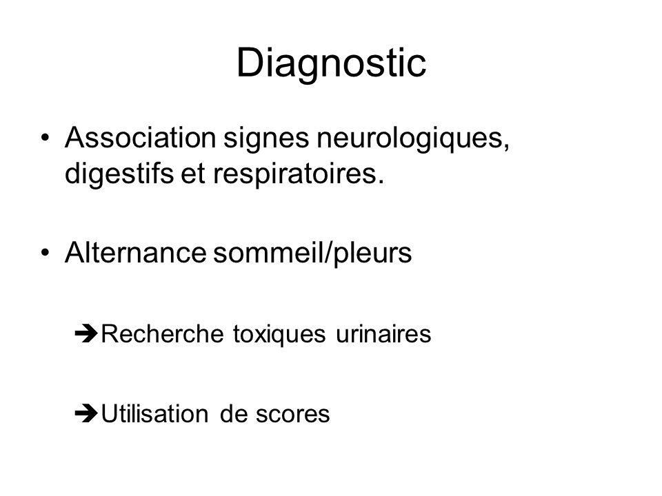 DiagnosticAssociation signes neurologiques, digestifs et respiratoires. Alternance sommeil/pleurs. Recherche toxiques urinaires.