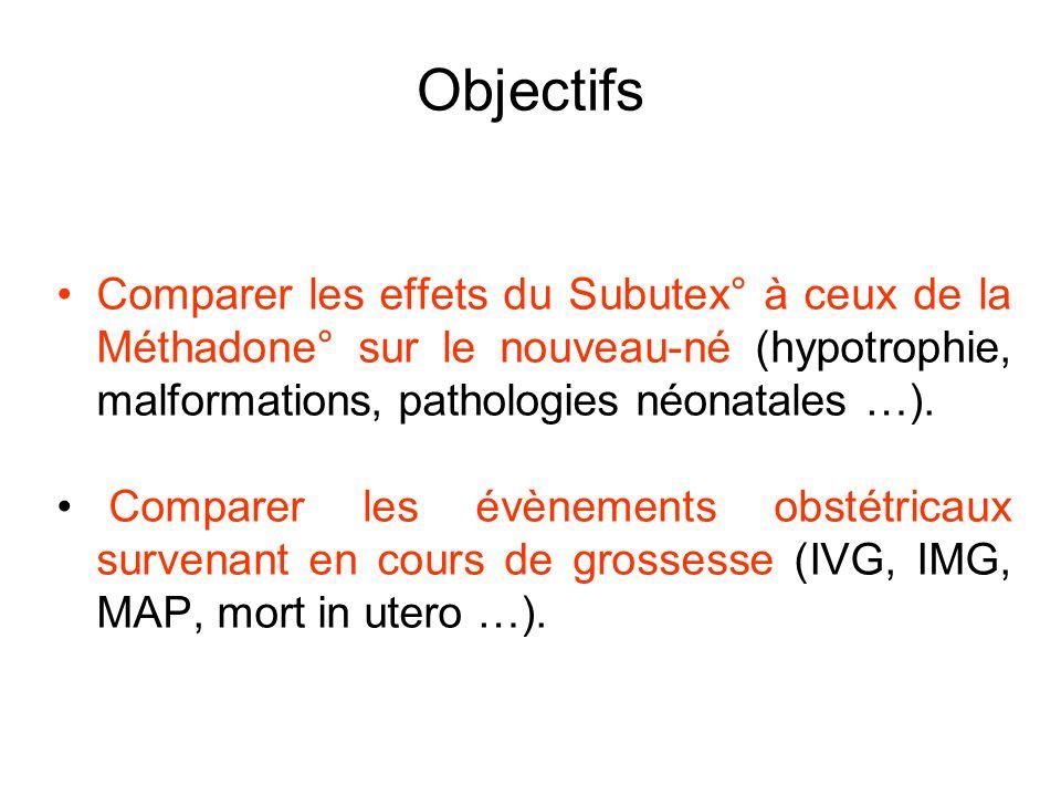 Objectifs Comparer les effets du Subutex° à ceux de la Méthadone° sur le nouveau-né (hypotrophie, malformations, pathologies néonatales …).