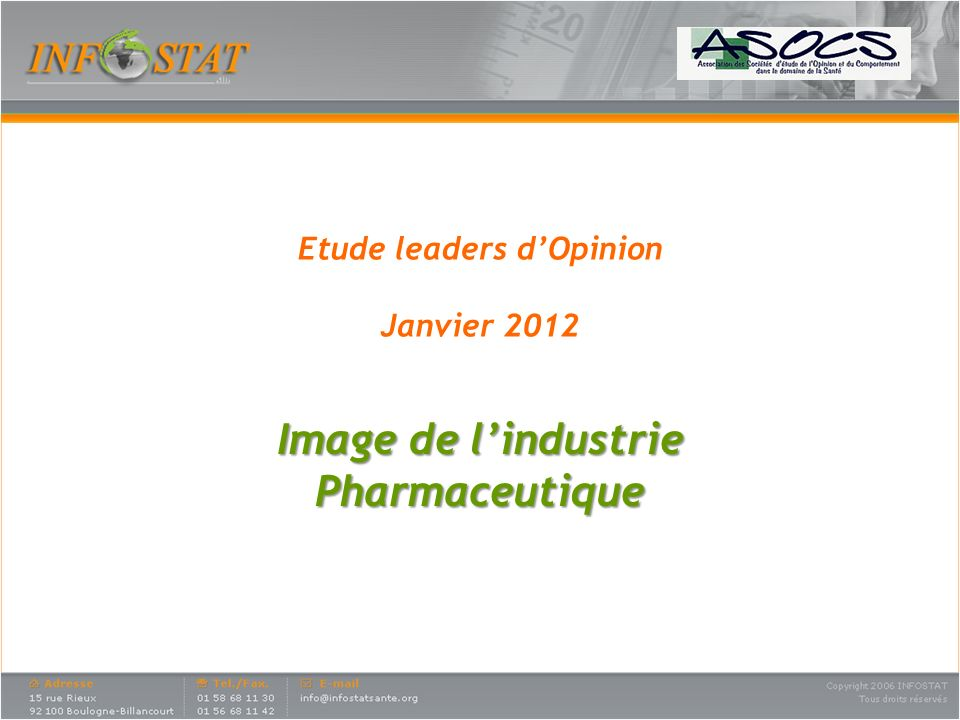 Etude leaders d'Opinion Janvier 2012