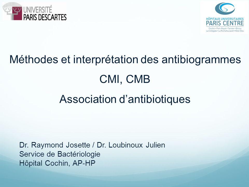 Méthodes et interprétation des antibiogrammes CMI, CMB