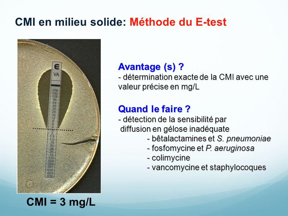 CMI en milieu solide: Méthode du E-test
