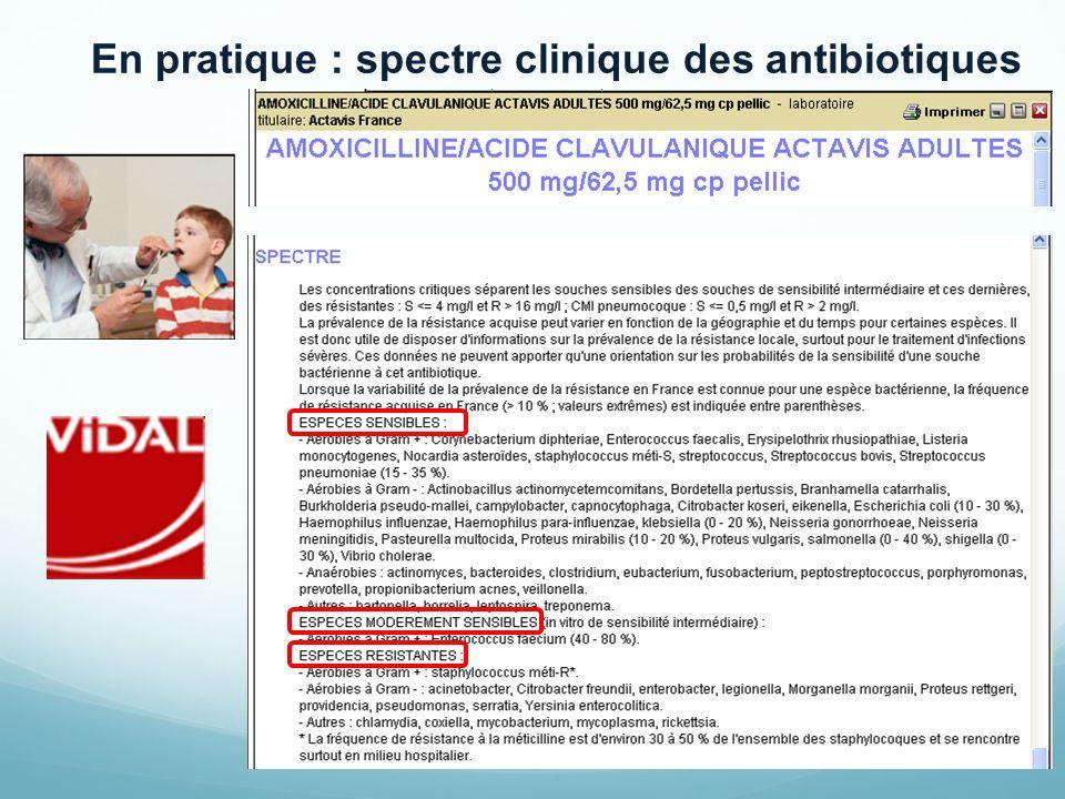 En pratique : spectre clinique des antibiotiques