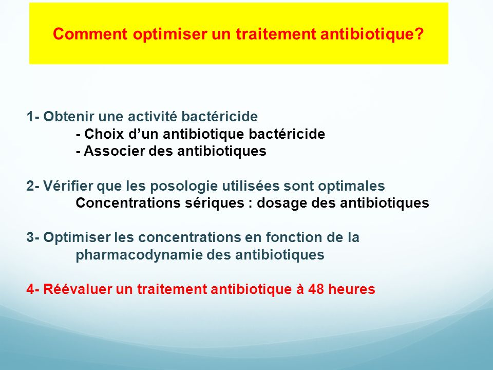 Comment optimiser un traitement antibiotique