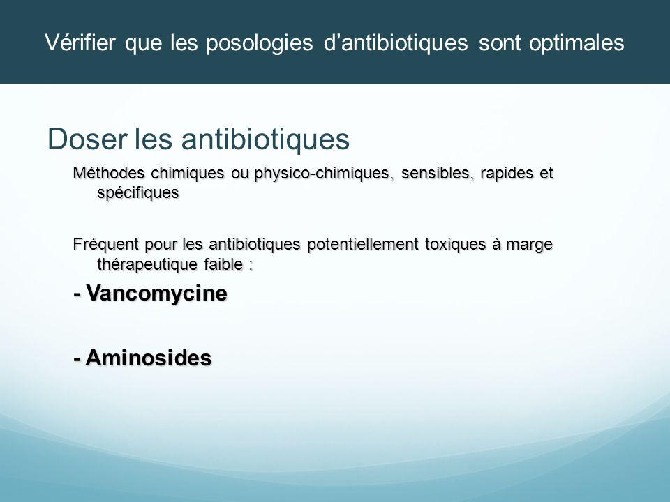 Vérifier que les posologies d'antibiotiques sont optimales