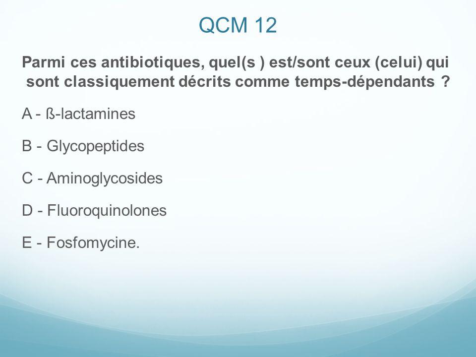 QCM 12 Parmi ces antibiotiques, quel(s ) est/sont ceux (celui) qui sont classiquement décrits comme temps-dépendants