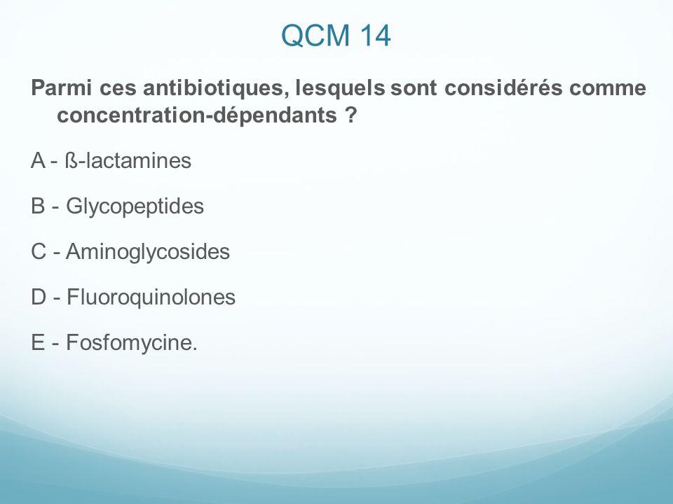 QCM 14 Parmi ces antibiotiques, lesquels sont considérés comme concentration-dépendants A - ß-lactamines.