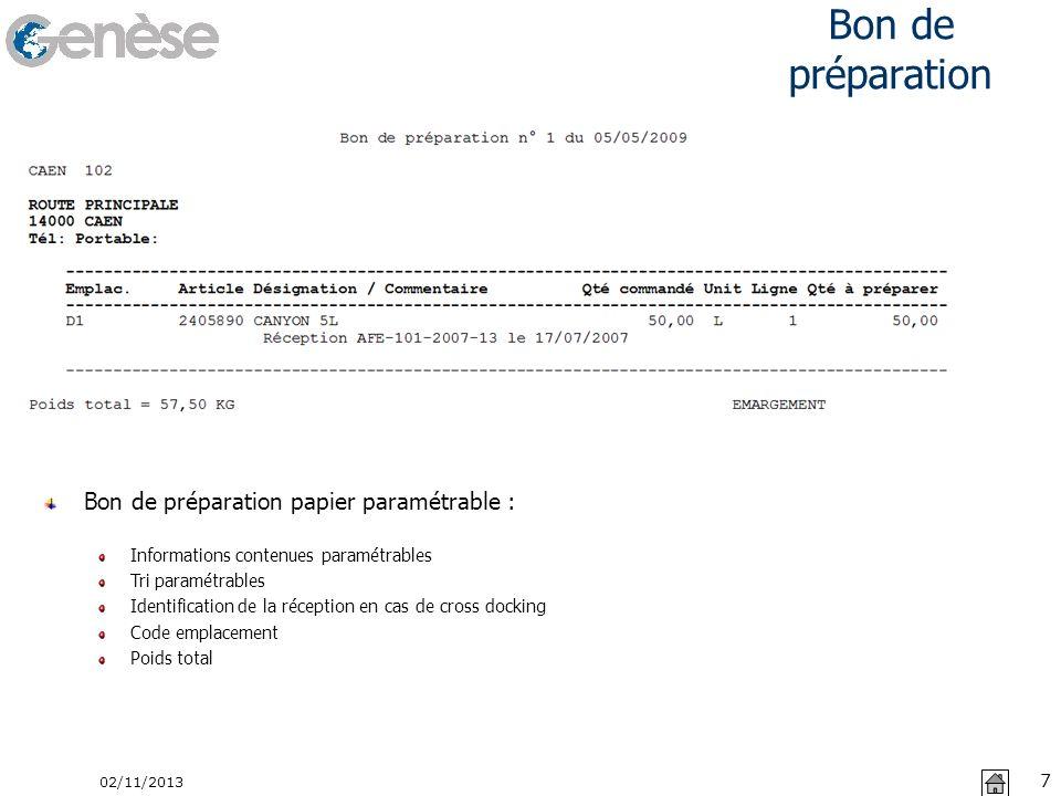 Bon de préparation Bon de préparation papier paramétrable :