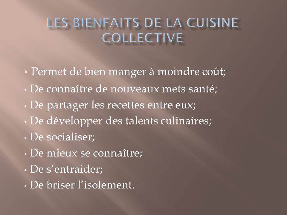 Les bienfaits de la cuisine collective