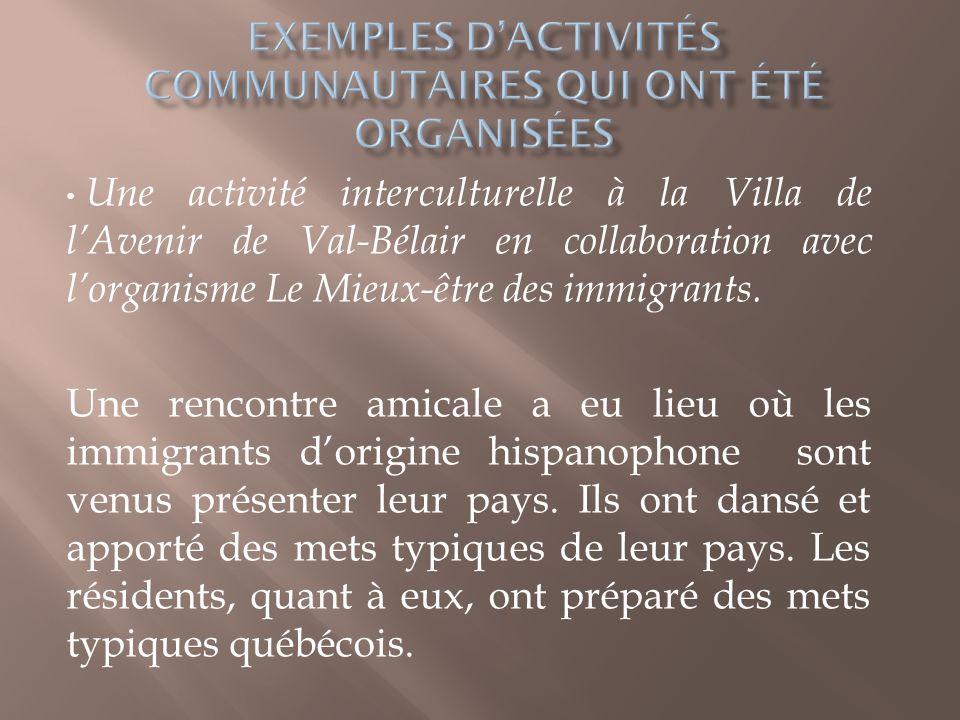 Exemples d'activités communautaires qui ont été organisées