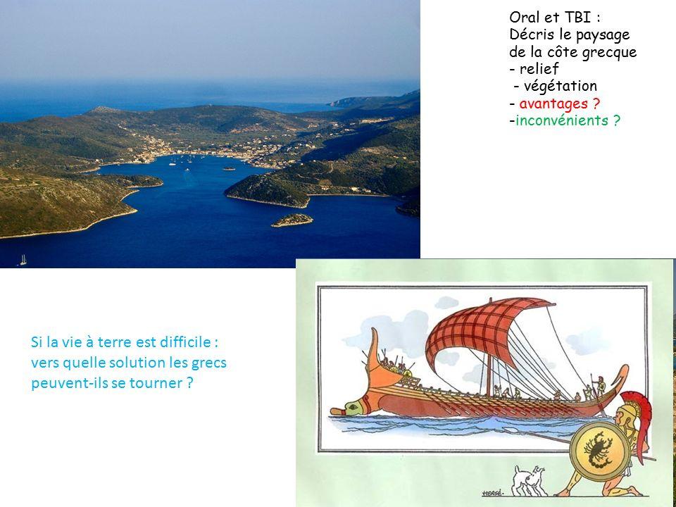 Oral et TBI : Décris le paysage de la côte grecque - relief - végétation - avantages -inconvénients