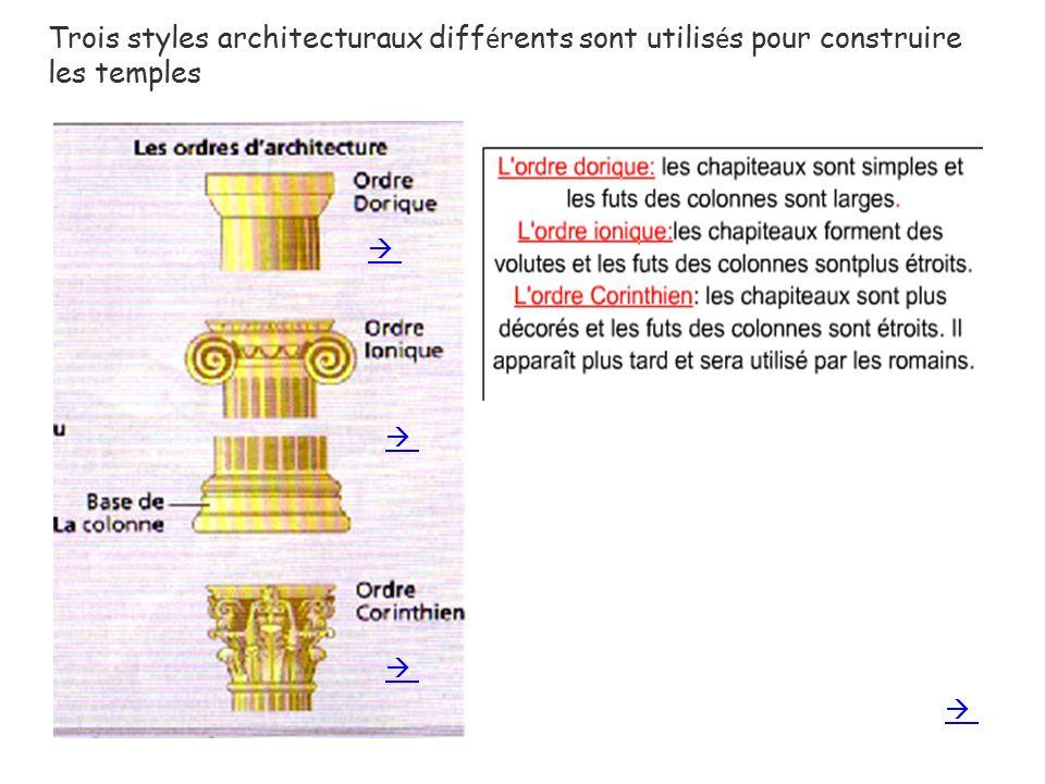 Trois styles architecturaux différents sont utilisés pour construire les temples