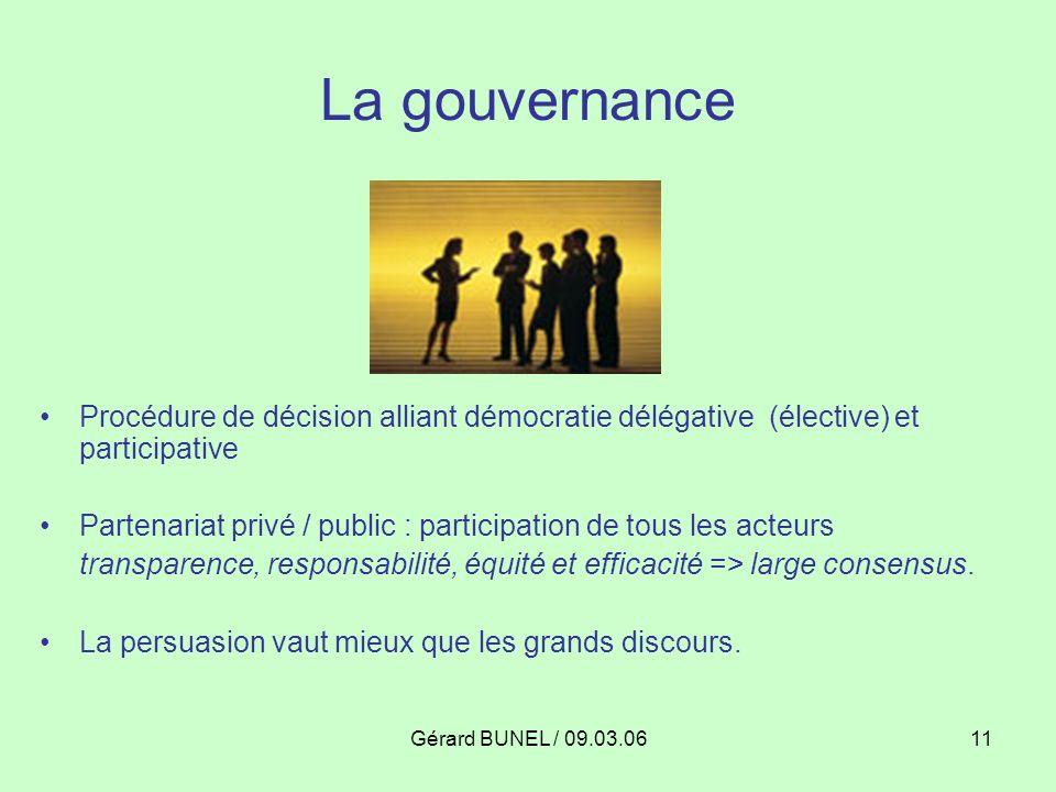 La gouvernance Procédure de décision alliant démocratie délégative (élective) et participative.