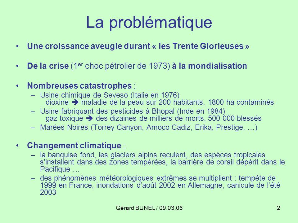 La problématique Une croissance aveugle durant « les Trente Glorieuses » De la crise (1er choc pétrolier de 1973) à la mondialisation.