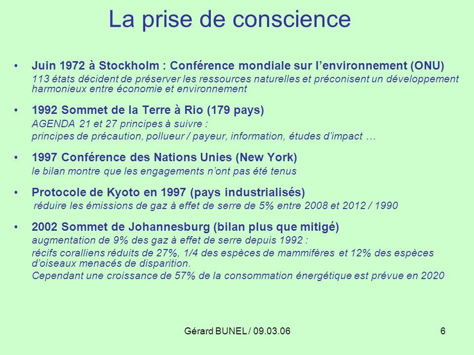La prise de conscience Juin 1972 à Stockholm : Conférence mondiale sur l'environnement (ONU)