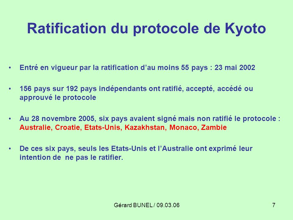 Ratification du protocole de Kyoto
