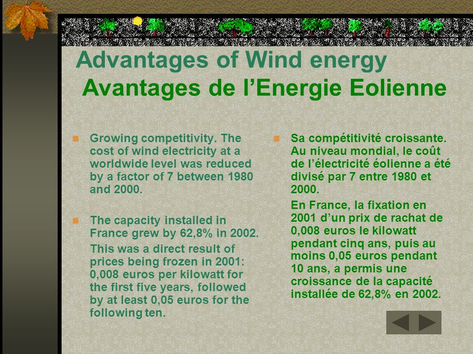Advantages of Wind energy Avantages de l'Energie Eolienne