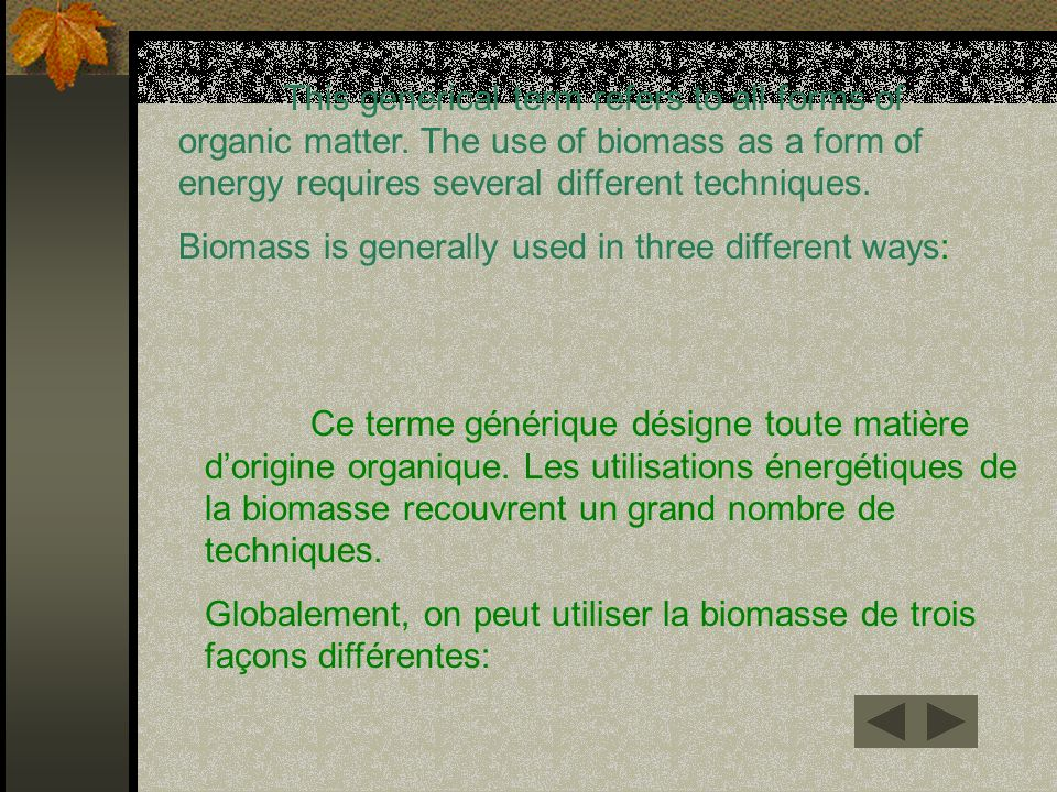 This generical term refers to all forms of organic matter