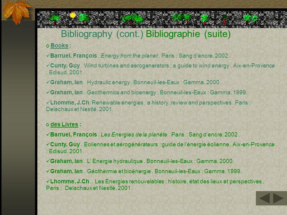 Bibliography (cont.) Bibliographie (suite)