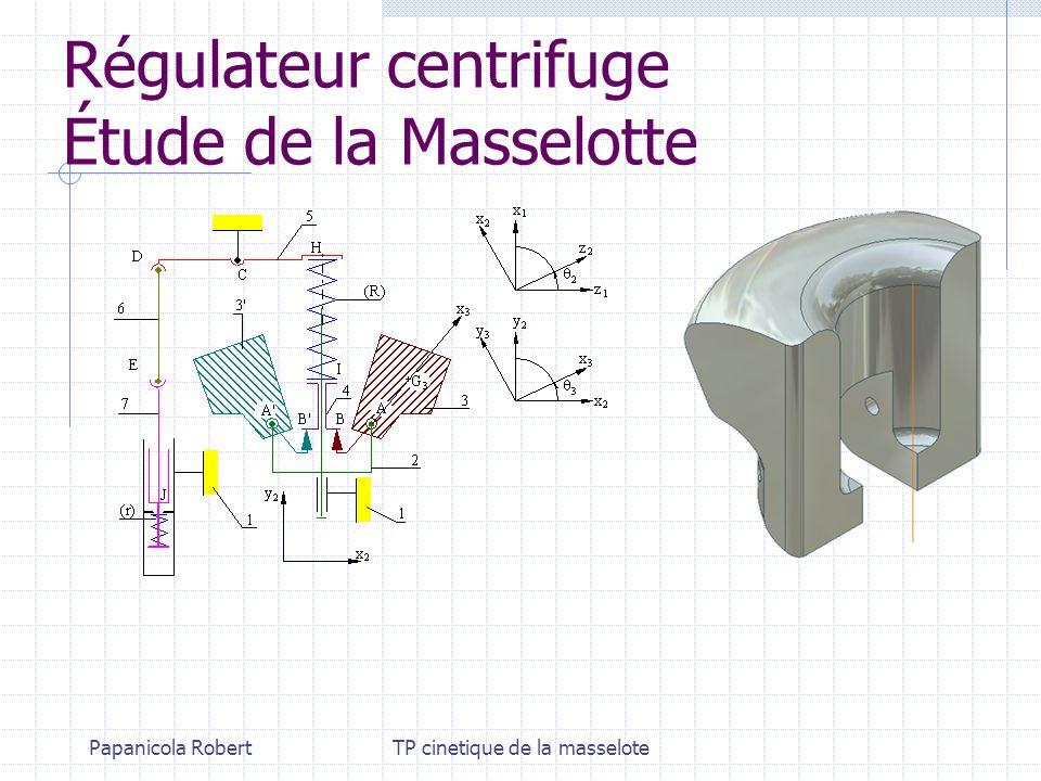 Régulateur centrifuge Étude de la Masselotte