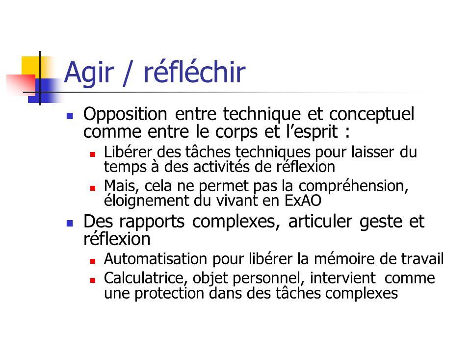 Agir / réfléchir Opposition entre technique et conceptuel comme entre le corps et l'esprit :