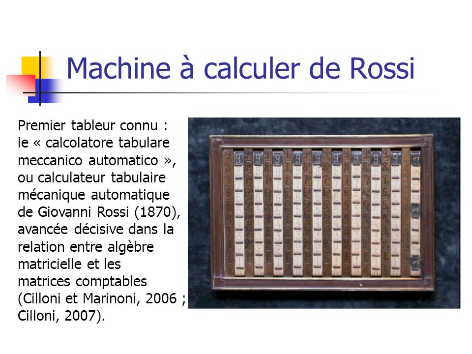 Machine à calculer de Rossi