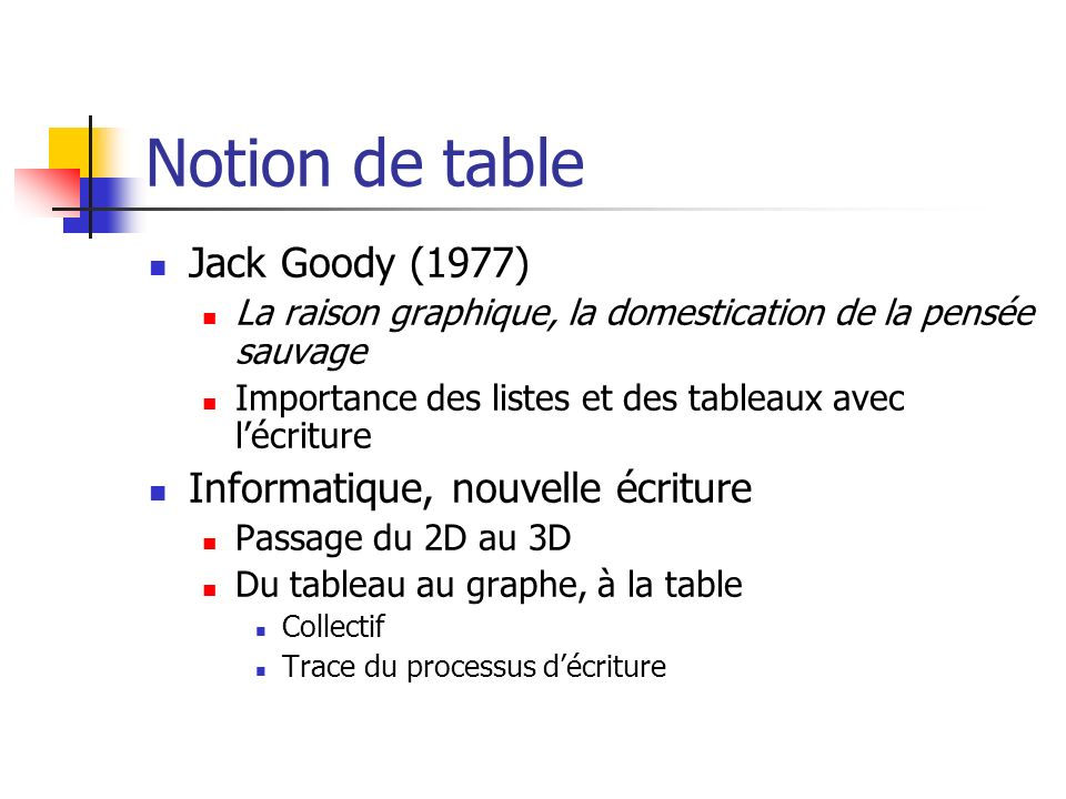 Notion de table Jack Goody (1977) Informatique, nouvelle écriture