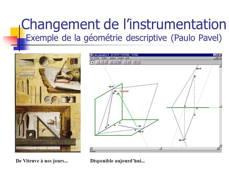 Changement de l'instrumentation Exemple de la géométrie descriptive (Paulo Pavel)