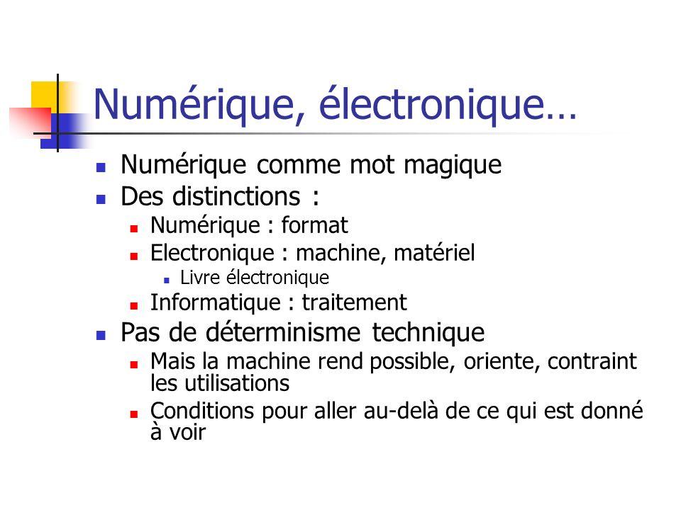 Numérique, électronique…