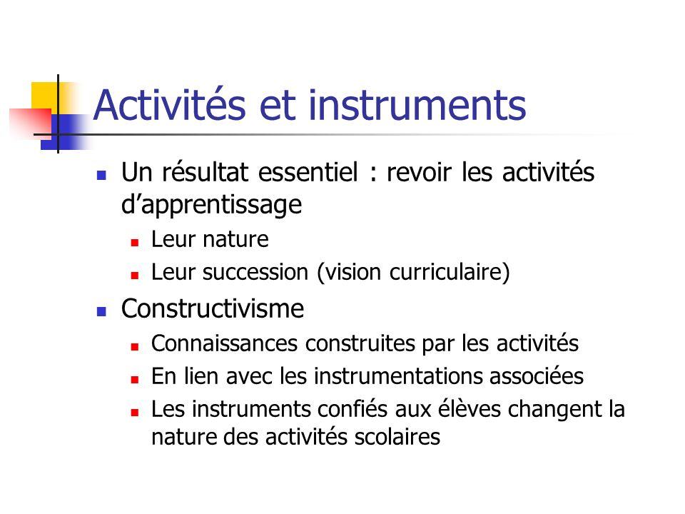Activités et instruments