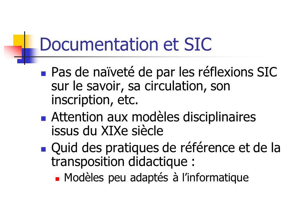 Documentation et SIC Pas de naïveté de par les réflexions SIC sur le savoir, sa circulation, son inscription, etc.