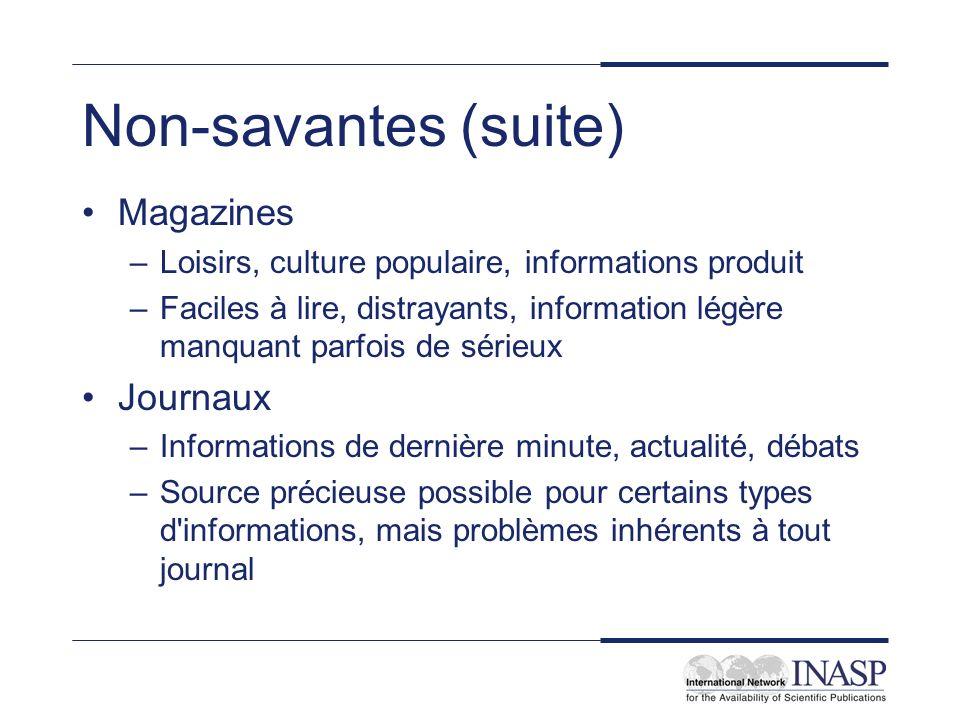 Non-savantes (suite) Magazines Journaux