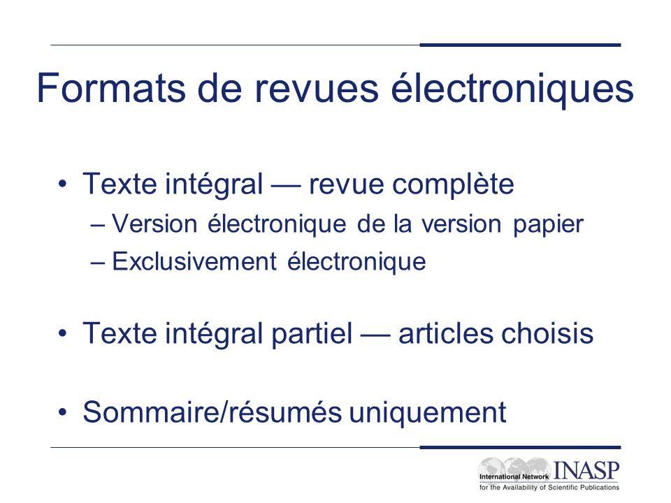 Formats de revues électroniques
