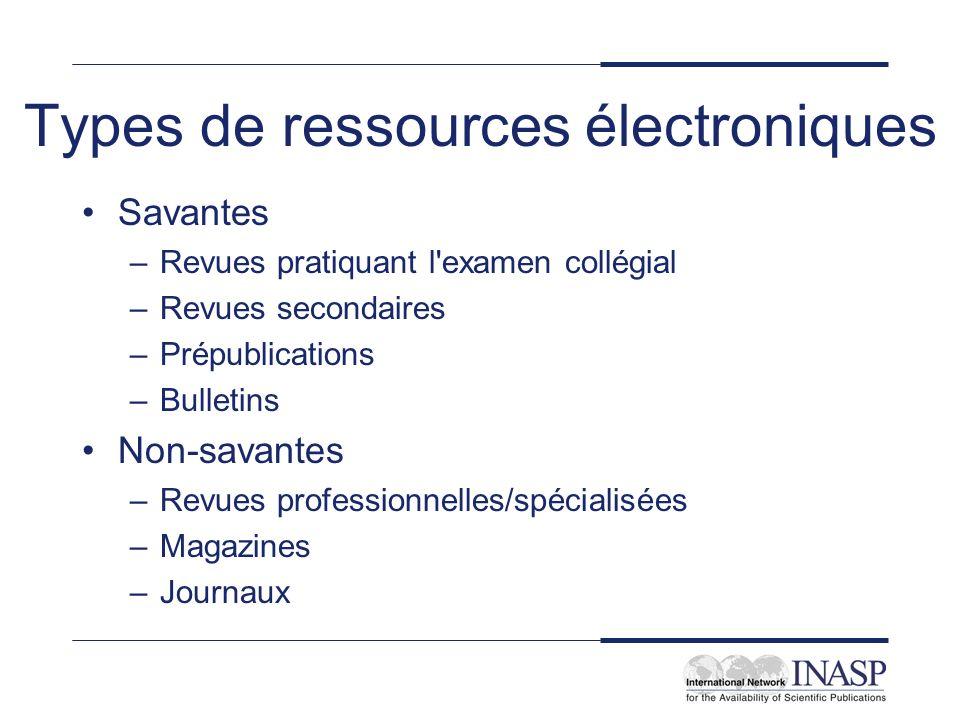 Types de ressources électroniques
