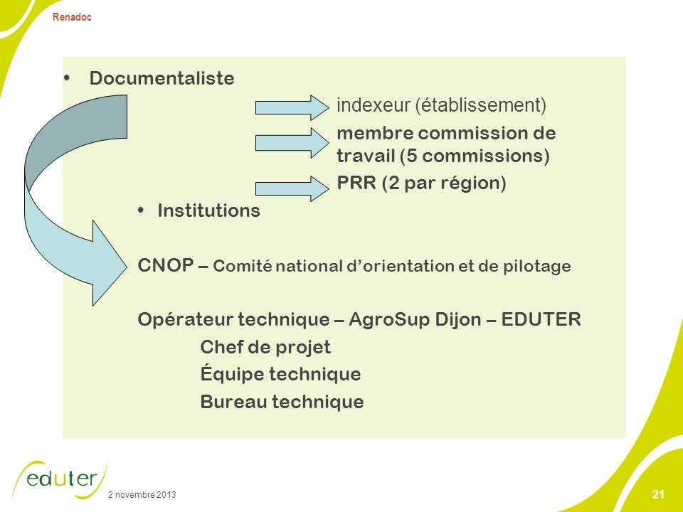 Renadoc Opérateur technique : AgroSup – EDUTER met en œuvre les orientations du CNOP. Chef de projet.