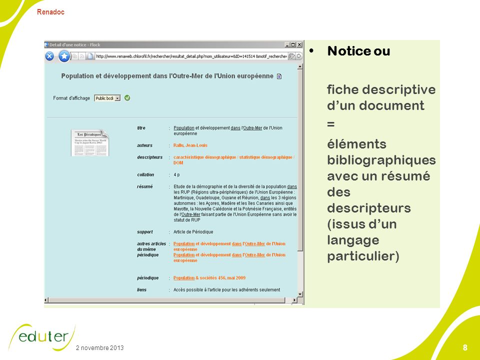 analyse du contenu d'un document et restitution sous forme de notice.