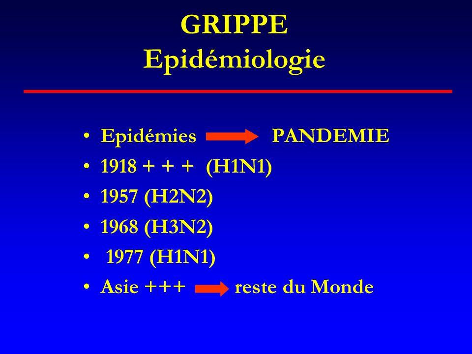 GRIPPE Epidémiologie Epidémies PANDEMIE 1918 + + + (H1N1) 1957 (H2N2)