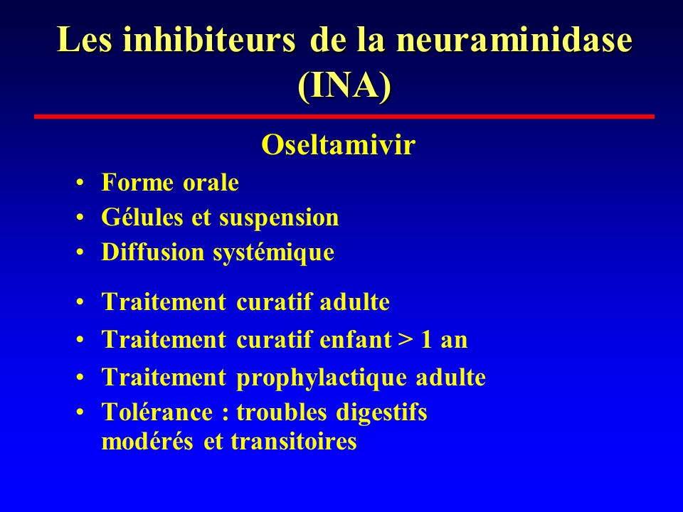 Les inhibiteurs de la neuraminidase (INA)