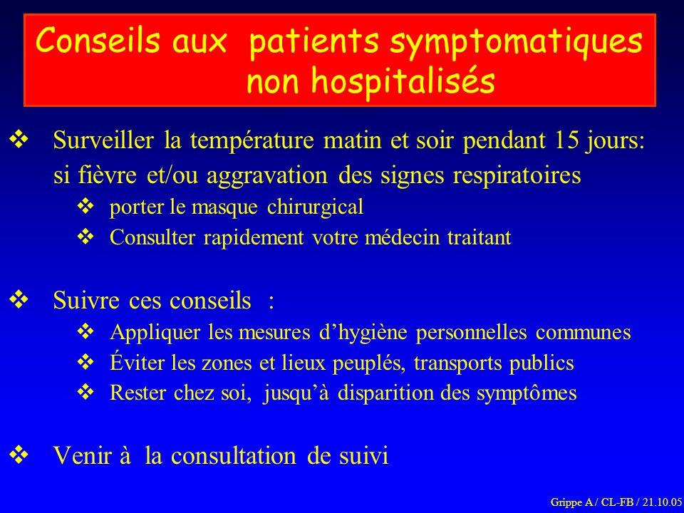 Conseils aux patients symptomatiques non hospitalisés