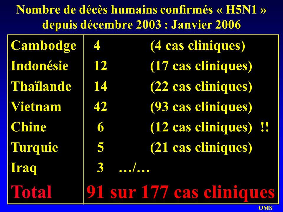 Total 91 sur 177 cas cliniques Cambodge Indonésie Thaïlande Vietnam