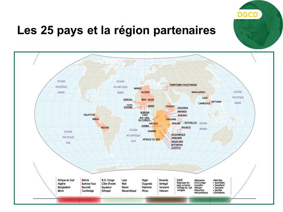 Les 25 pays et la région partenaires