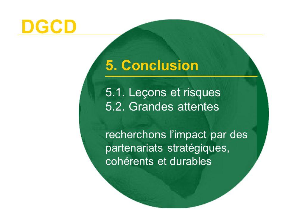 DGCD 5. Conclusion. 5.1. Leçons et risques 5.2.