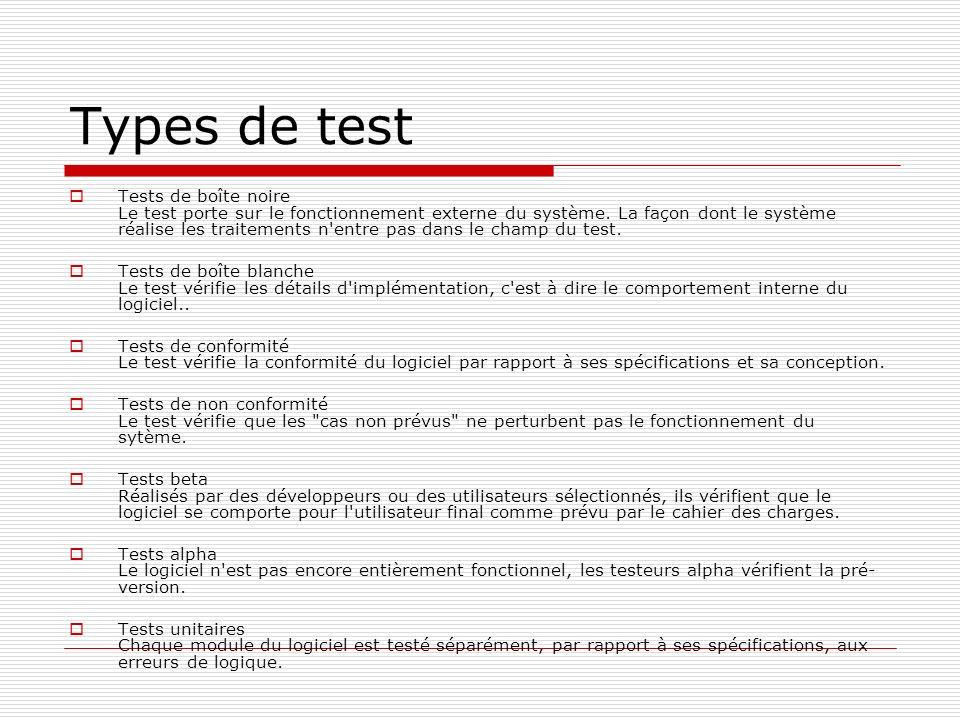 Types de test