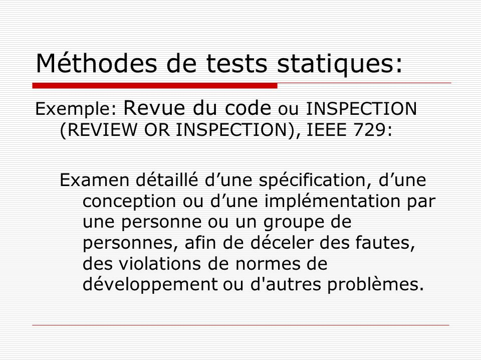 Méthodes de tests statiques: