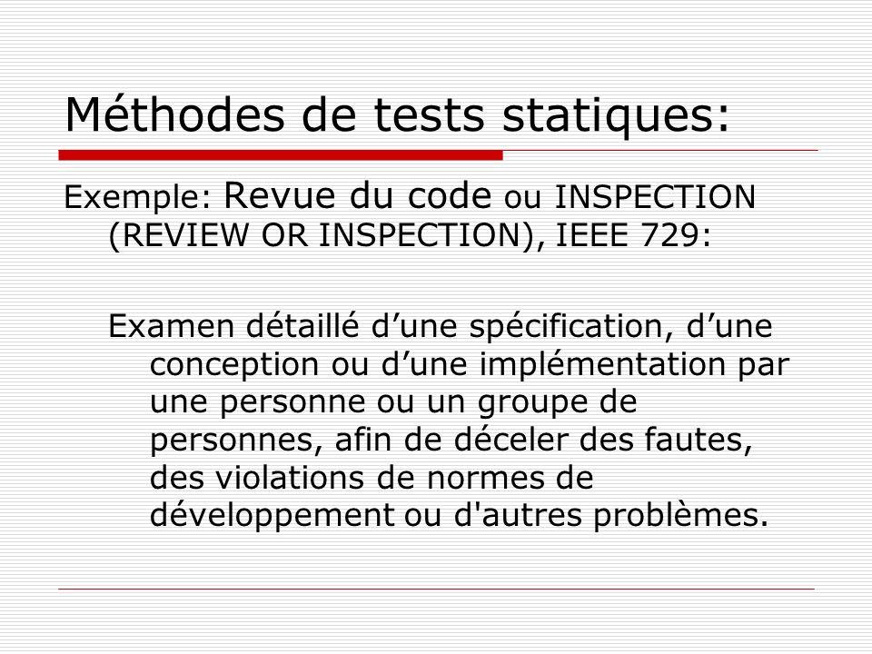Méthodes de tests statiques: